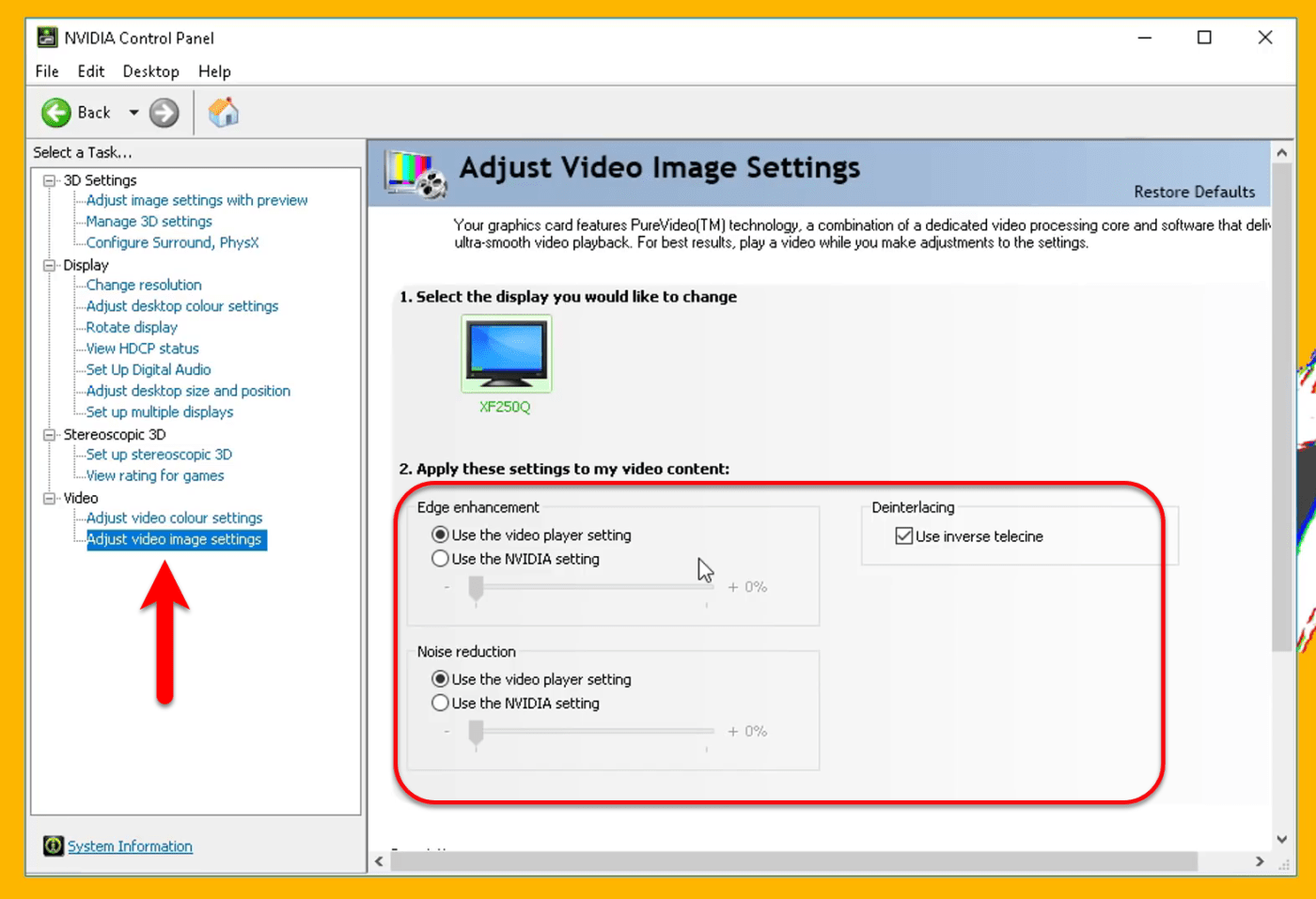 Adjust Video image settings