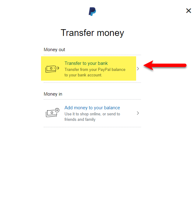 Transfer to your Bank