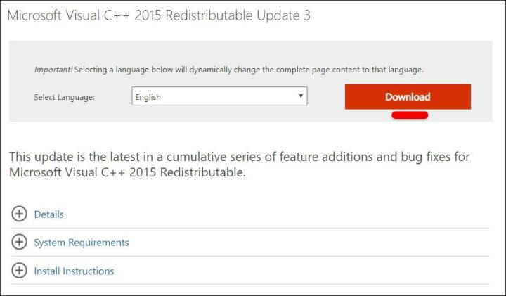 Reinstall Visual C++ Redistributable for Visual Studio 2015