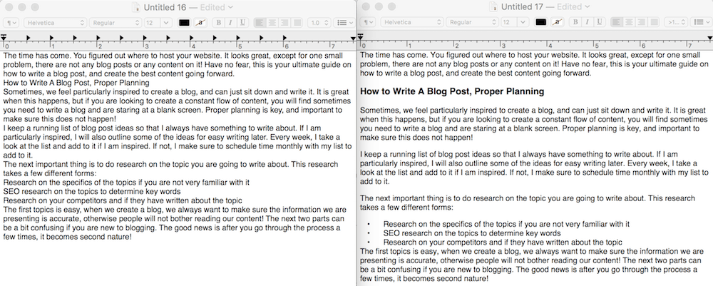 how to write a blog post formatting in WordPress