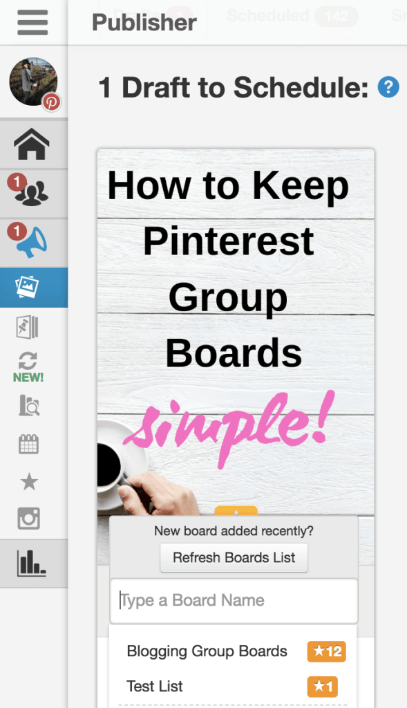 schedule Pinterest pin tailwind board list group boards