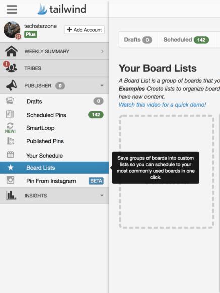 tailwind board lists Pinterest group boards easy
