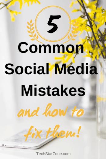 common social media mistakes fix twitter Pinterest Instagram Facebook success