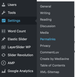 wordpress settings permalink structure