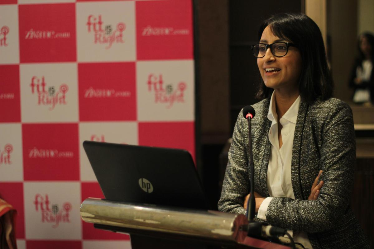Richa Kar, Founder & CEO at Zivame addressing the audience at the launch