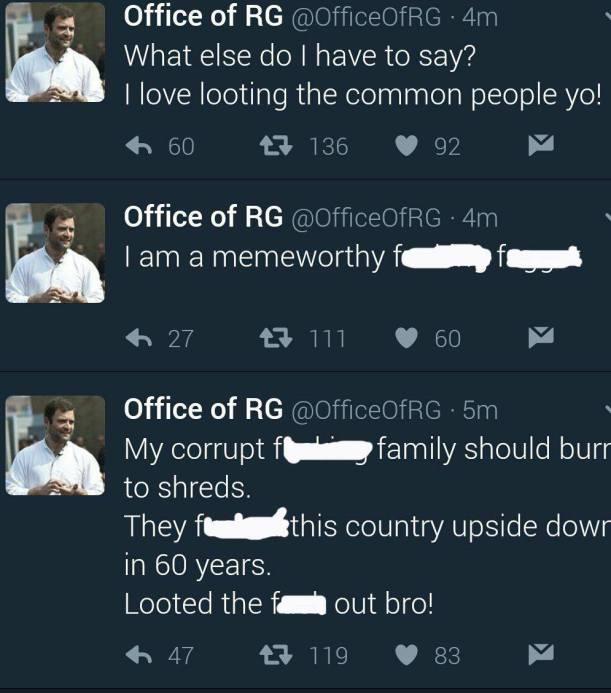 rahul gandhi hacked