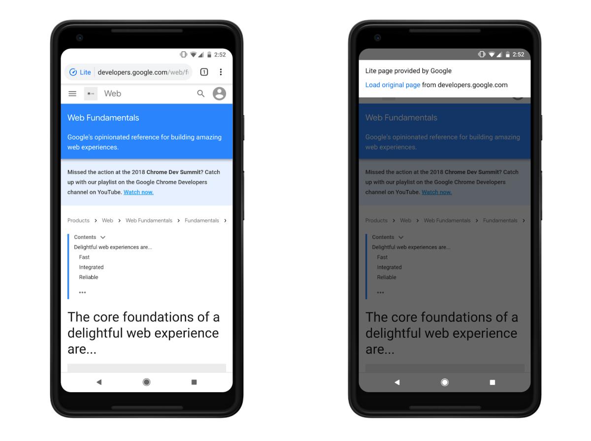 Google Chrome Lite Pages
