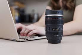Futuristic gadgets on Amazon lens shaped coffee mug