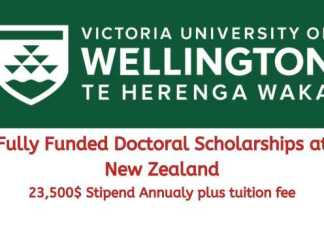 University of Wellington Doctoral Scholarship
