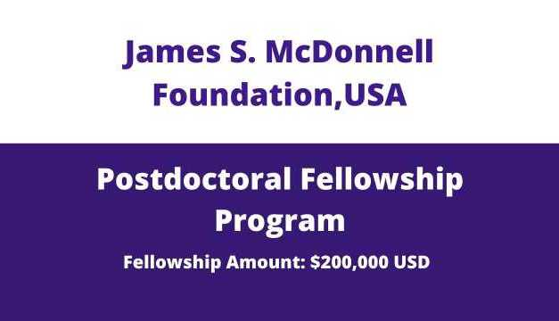 JSMF Postdoctoral Fellowship Awards 2020, USA | Postdoc in USA