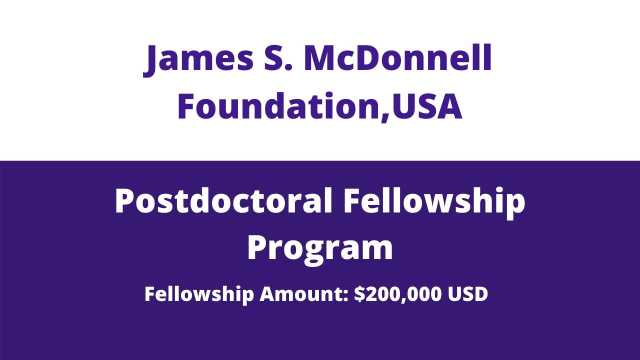 JSMF Postdoctoral Fellowship Awards 2020, USA   Postdoc in USA
