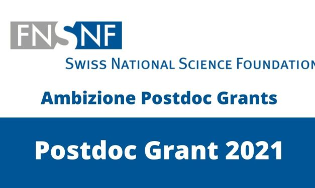 Swiss National Research Foundation Ambizione Postdoc Grants 2021