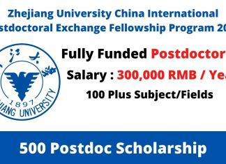 Zhejiang University China International Postdoctoral Exchange Fellowship Program