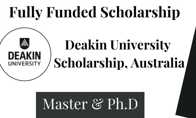 Deakin University Research Training Program Scholarship, Australia 2022
