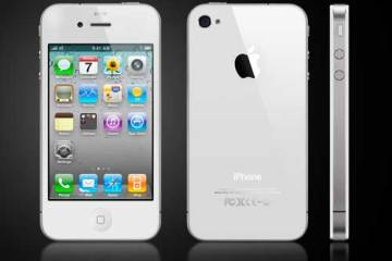 white iPhone 4, front, back and side