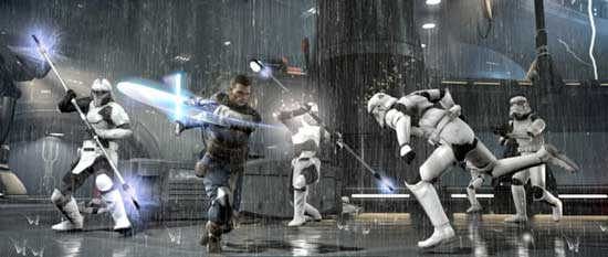 Star Wars The Force Unleashed II screenshot, Starkiller and Stormtroopers