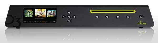 Olive O3HD Music Server - black colour, front angle shot
