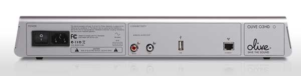 Olive O3HD Music Server - silver colour, rear