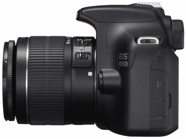 Canon EOS 1100D digital SLR camera, side