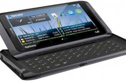 Nokia E7 smartphone, front angle with the keyboard open