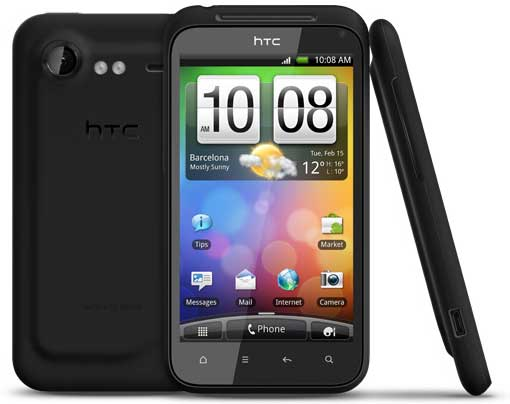 HTC Incredible S, front, back and side views