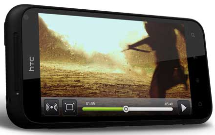 HTC Incredible S video playback screen