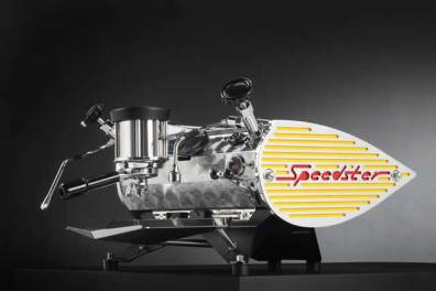 Kees Van Der Westen Speedster coffee machine, yellow, side view