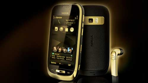 Nokia Oro, front and back views, plus earphones