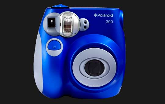Polaroid 300 camera, blue