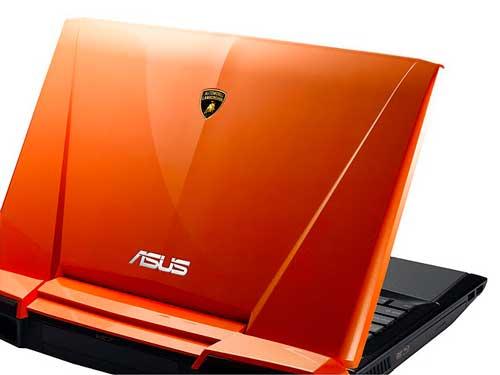 Asus Lamborghini VX7 notebook computer, orange, back view