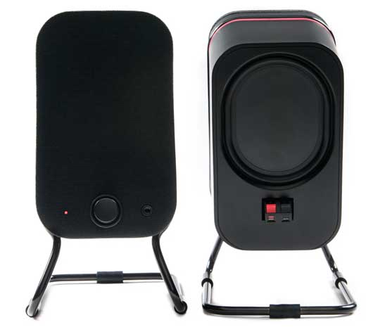 Audyssey Lower East Side Media Speakers, front and back views