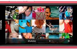 Nokia N9 smartphone, magenta colour, in landscape mode