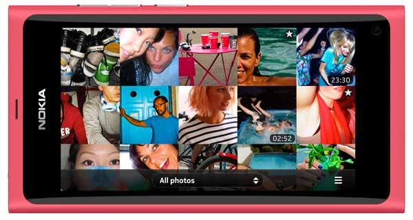 Nokia N9 smartphone, magenta colour, in landscape mode