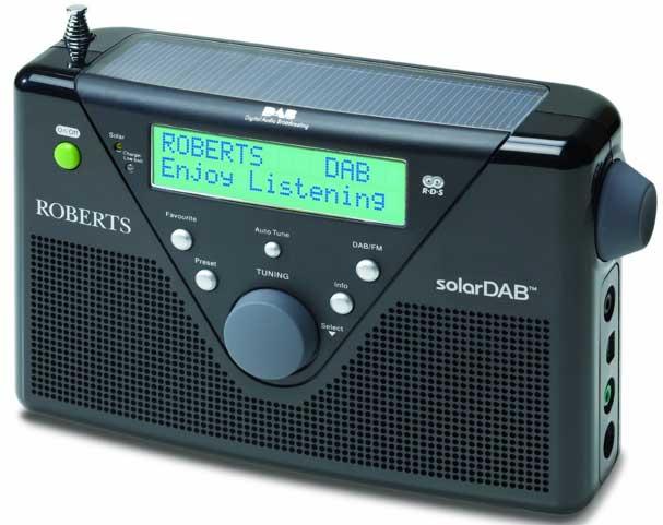 Roberts SolarDAB2 digital radio, black, front angle