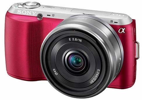 Sony NEX-C3 digital camera, pink, front angle