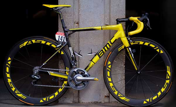 BMC SLR01 bike, with the Tour de France win-influenced colour scheme