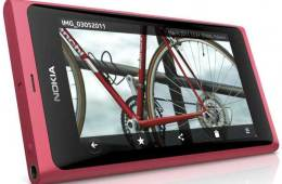 Nokia N9 smartphone, magenta, front angle