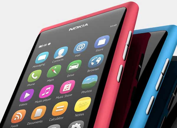 Nokia N9 smartphone, closeup view of the home screen