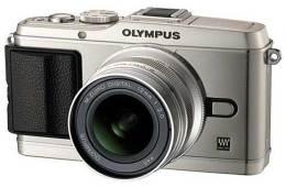 Olympus PEN E-P3 digital camera, silver, front angle
