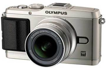 Olympus PEN E-P3 digital camera, silver, front angle