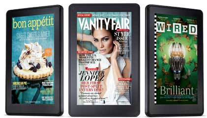 Kindle Fire, magazines on screen