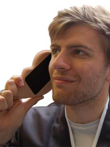 Ear iPhone Case in use, viewed from the front