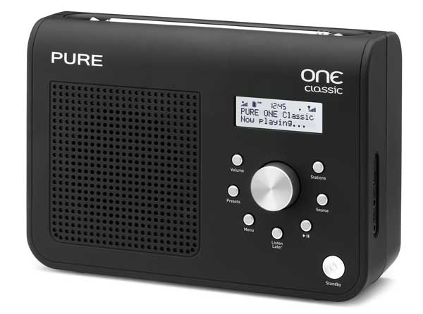Pure ONE Classic Series II digital radio, black, front angle