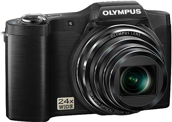 Olympus SZ-14 digital camera, black, angle view