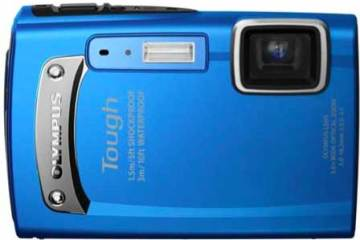 Olympus Tough TG-320 digital camera, blue, front
