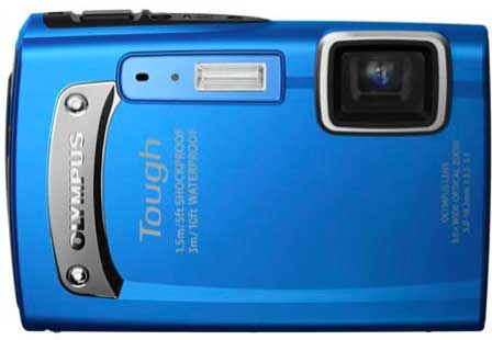 Olympus Tough TG-320 digital camera, blue, front