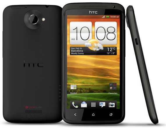 black HTC One X front, back and side views