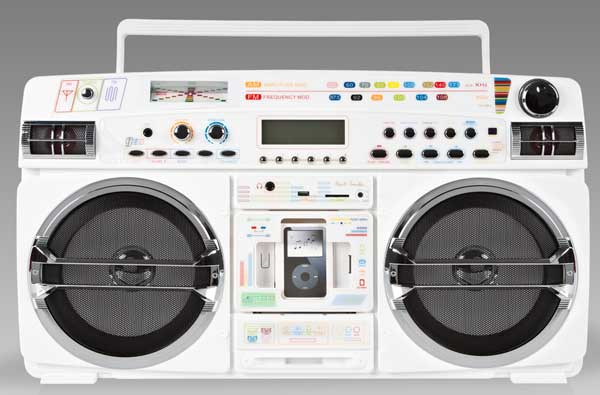 Lasonic 931X White Boom Box, front