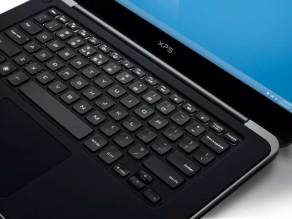 Dell XPS 14 laptop, black, closeup of the keyboard