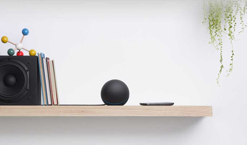 Google Nexus Q, lifestyle shot on the shelf